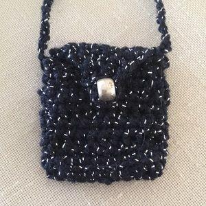 Crocheted Tiny Purse Handmade Black and Silver